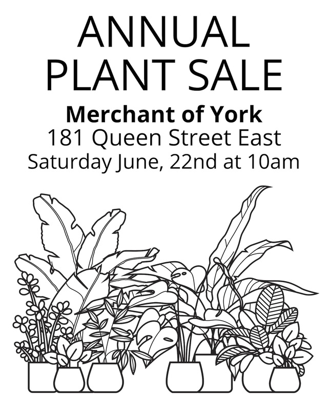 First annual plant sale, Saturday June 22, 2019 at Merchant of York 181 Queen Street East, Toronto